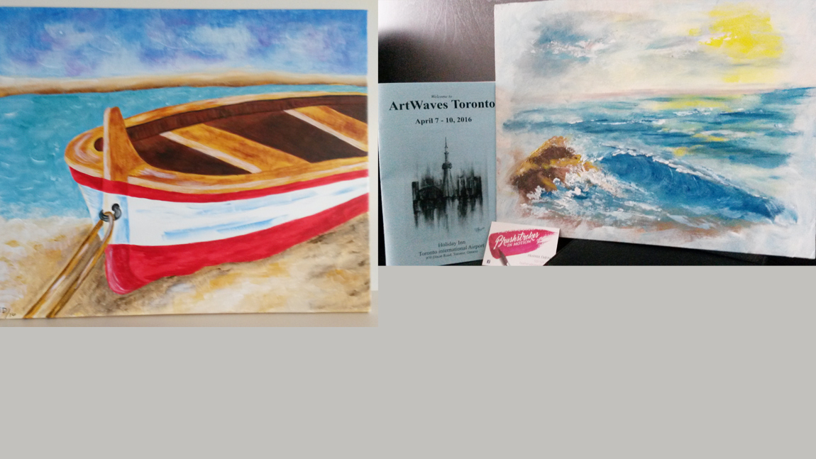 Boat and waves paintings