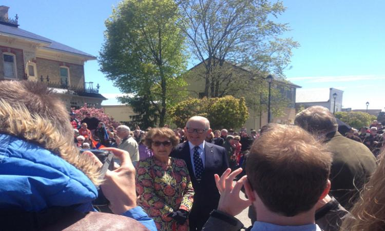 Crowds at Goderich welcome Princess Margriet.