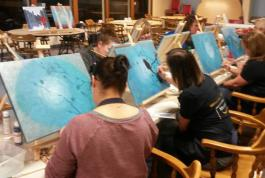 Students working on bird paintings