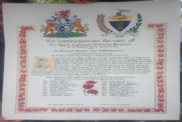 Scroll of remembrance listing the Huron County 20 who lost their lives in Holland